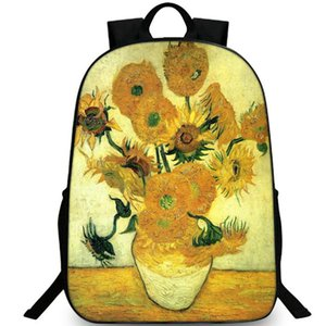 Wholesale paintings sunflowers resale online - Sunflowers backpack Van Gogh best daypack Great oil painting schoolbag Leisure rucksack Sport school bag Outdoor day pack