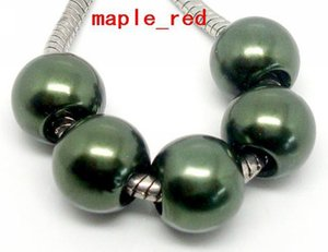Wholesale 100PCS Army green PImitation Pearl Charms for Jewelry Making loose European Big Hole Acrylic Beads Fit European Bracelet Low Price