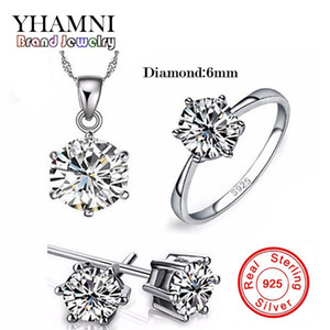 YHAMNI 100% Real 925 Sterling Silver Jewelry Sets Luxury CZ Diamond Wedding Engagement Bridal Sets For Women African 1263