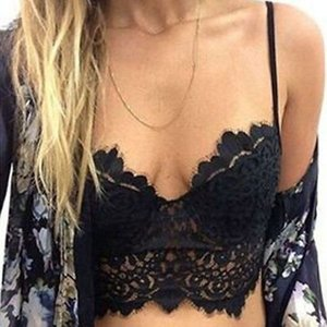 Wholesale-Women's Lace Floral Bralette Bralet Bra Bustier Crop Top Cami Padded Tank Tops Tanks White&Black Free Shipping