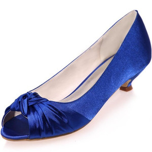 Wholesale Cheap Women s Ivory Satin Wedding Bridal Shoes Open Peep Toe Low Heels for Evening Prom ZXF0700 A