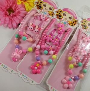 Wholesale Kids gift jewelry set girl pearl beads cartoon pendants necklace bracelet ring hair clip hairband Set Christmas Party bag filler prize pink
