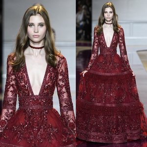 2017 Zuhair Murad Evening Dresses Long Sleeve Deep V Neck Crystal Prom Gowns Lace Applique Tiered Skirts Vintage Long Red Carpet Dress on Sale