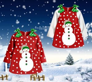 Wholesale New Christmas winter Dress Girls Kids Snowman bowknot printed Long Sleeve Dot Top Coat children fashion Dresses warm cute girl tops Age Y