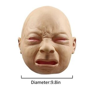 Wholesale Newest Crying Baby Face Mask Realistic Halloween Latex Overhead Crying Baby Mask Fancy Dress Props Party Mask