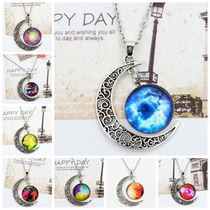 Wholesale Vintage Moon Phase Pendant Necklace Styles Starry Sky Moon Face Outer Space Dark Universe Starry Camo Gemstone Pendant Necklaces