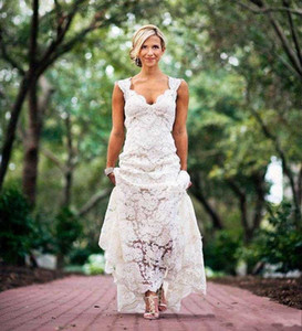 2019 Full Lace Wedding Dresses Country Style Pluging V-neck Cap Sleeves Keyhole Back A Line Vintage Custom Made Bridal Gowns Vestios