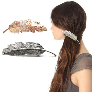 Wholesale New Fashion Women Leaf Hairpin Gold Sliver Ladies Retro Spring Hair Clip Feather Decorate Accessories