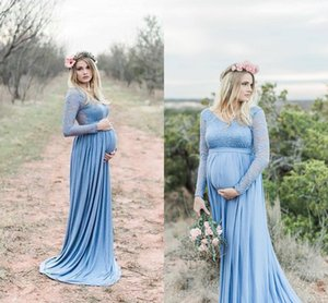 Hunter Green Lace Chiffon Maternity Women Formal Prom Dresses 2018 Plus Size Long Sleeve Full length Pregnancy Bohemian Evening Gown