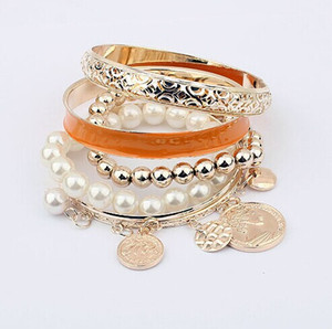 Wholesale Fashion hollow Multilayer joker Charm bracelets Metal Coin Pearl Beads bracelets Women Fashion Bracelets Jewelry Casual Accessories