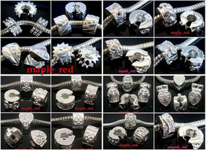 50pcs Lot mixed Copper Base Silver plated Stopper Clip Charms for Jewelry Making DIY Beads for European Bracelet Wholesale in Bulk Low Price