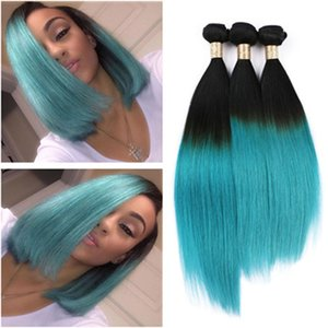 Wholesale New Fashional Two Tone Color B Green Ombre Hair Extensions Peruvian Human Hair Weave Bundles Teal Ombre Silky Straight Virgin Hair