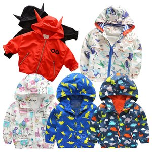 Wholesale Korean Spring Children Coats Baby Girl New Hooded Windbreaker Jackets Windproof Sun Protection Clothing trench coats