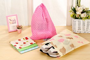 Non-woven fabric dust bag drawstring bags Travel draw cord shoe bag bundle sack Thickening printing non-woven shoe socks organizer