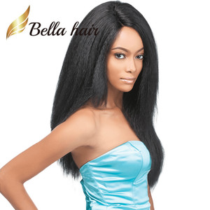 Wholesale Kinky Straight Full Lace Wig Indian Virgin Human Hair Light Yaki Lace Front Wig Dyable Black Color Hair Wigs Bella Hair