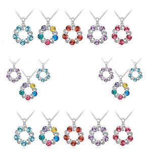Wholesale New Fashion jewelry The eternal promise austrian crystal Necklace Rhodium Plated Pendant Necklaces Min order
