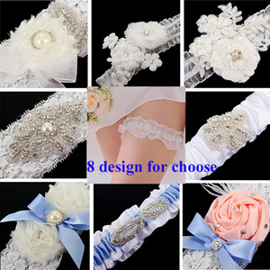 Wholesale Free Shipping Lace Bridal Garters 8 Design For Choose 2015 Cheap Sexy with Crystal Beads Wedding Leg Garters Bridal Accessories TYC005