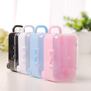 Wholesale showers ideas resale online - Clear Mini Rolling Travel Suitcase Favor Box Wedding Favors Party Reception Candy Package Baby Shower Ideas LZ0723