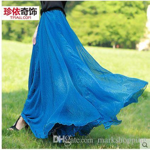 Wholesale 2016 new summer korean fashion bohemia vacation holiday silk chiffon solid color big expansion maxi long skirt high waist ankle length skirt