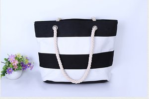 Wholesale 20pcs Designer women fashion black white stripes beach bags summer cotton big capacity double shouder hand bag totes