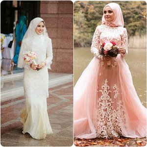 Long sleeve with veil 3D-Floral Appliques high neck Muslim Arabia lace vintage plus size bridal gowns wedding dresses wedding dress on Sale