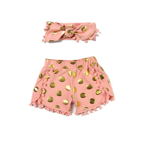 Girls Short Set Metallic Gold Dots Pom Baby Short With Headband Baby Girls Short Pants Toddler Clothes on Sale