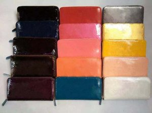 Wholesale Patent leather shinny luxury long wallet multicolor Fashion high quality original box coin purse women man classic zipper pocket on Sale