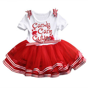 Wholesale 2018 Baby Girl christmas dress sweet princess vestidos candy cane cutie letter print Clothes best gift kids TUTU Party Tulle funny Dresses