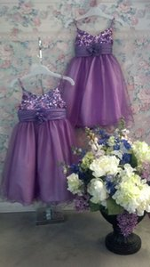 Wholesale sparkly dresses for little girls resale online - Purple Tea Length Flower Girl Dresses for Wedding Spaghetti Straps Sparkly Beading Cheap Girls Pageant Dress Little Child Party Gowns