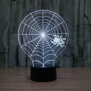 Wholesale 3D Illusion Spider Web Shape LED Table Lamp As Gift For Darling With USB Line HR