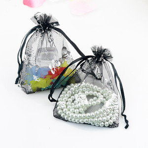 Wholesale Drawstring Organza Jewelry Favor Pouches Wedding Party Festival Gift Bags Candy Bag Blue Butterfly Floral Print Silver X12CM X4