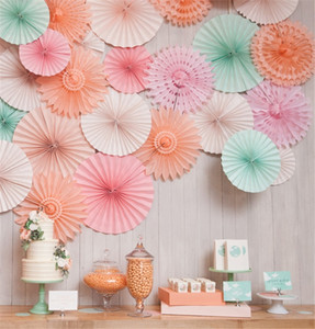 Wholesale 6 Set Colorful Handcraft Origami Tissue Folding Fan Flower Kid s Birthday Party Decoration Wedding Supply