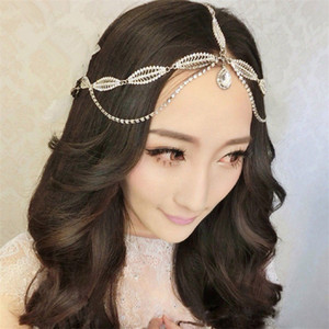 Wholesale Indian Wedding Headband Forehead Hair Chain Jewelry Vintage Crystal Rhinestone Hair Accessories Princess Crown Tiara Queen Headdress Silver