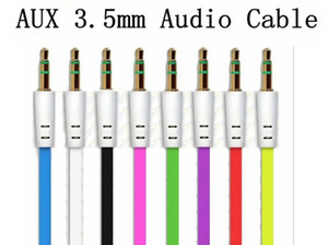 Wholesale 3 mm Colorful Flat Noodle Aux Audio Auxiliary Cable Jack Male to Male Plug Stereo Cord Wire for Iphone plus Mobile Phone Speaker