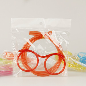 Wholesale 2017 Funny Soft Glasses Straw Unique Flexible Drinking Tube Kids Party Accessories Colorful Plastic Drinking Straws