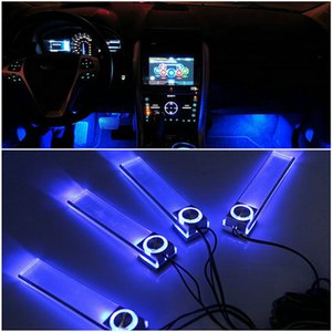 Wholesale 4 In V Fashion Romantic LED Blue Car Decorative Lights Charge LED Interior Floor Decoration Lights Lamp Hot Worldwide