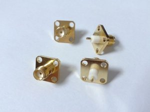 Wholesale female flange resale online - 50 Gold SMA SMA KFD4 female PTFE with holes flange solder connector