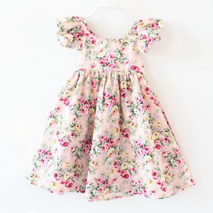 New Girls Dresses Children Cotton Printed Floral Puff Sleeve Dresses Sweet Casual Girls Holiday Beach Dress kids clothes