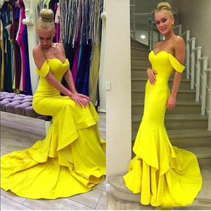 New Mermaid Prom Dresses 2016 Off Shoulder Sweetheart Layers Evening Dresses Long Women Dresses 2017 Long Celebrity Formal Cocktail Dress on Sale