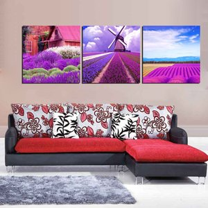 Free Shipping 3 Pieces unframed Canvas Print Lavender house windmill Wine Glass potted flower withered tree Big Ben Starfish shell Porcelain