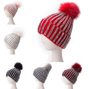 Ladies Faux Fur Large Pom Pom Rhinestones Beads Beanie Skull Slouchy Cap Warm Knitted Ski Hat A469