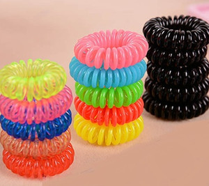 Wholesale Candy Colored Telephone Line Hair rope Fashionable Gum Elastic Ties Wear Hair Ring Spring Rubber Band Accessory Maker Tools Mix Color cm