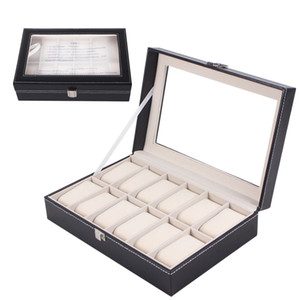 Wholesale 12Grids slots New PU leather Wood Board Watch Display Case grid watch display box storage box watch case rangement bijoux
