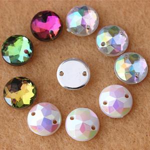 300pcs lot 10mm Crystal AB Color Superior Acrylic Flat Back Round Shape Acrylic Rhinestone Flatback beads Sew On 2 Hole ZZ4