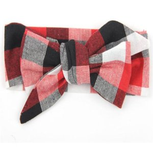 Wholesale Vintage Red Black White Plaid Girls headband DIY Big Bow Baby headband Turban Top Knot Cotton headband for girls