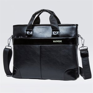 Wholesale PU Fashion Briefcase Mens Bags Soft Laptop Bag Black Coffee Business Purse Hot Sale Birthday Gift