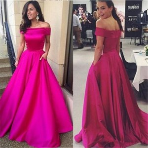 2019 Fuchsia Off the Shoulder Evening Dresses Satin With Pocket Sleeveless Formal Prom Dresses A Line Sweep Train Party Gowns Custom Made on Sale