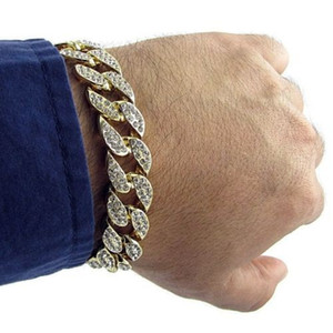 Wholesale Men Luxury Simulated Diamond Bracelets Bangles High Quality Gold Plated Iced Out Miami Cuban Bracelet inches