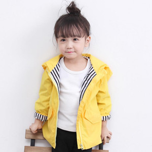 Wholesale New Baby Coats Autumn Winter Girls Windbreaker Kids Cartoon Yellow Duck Hooded Jacket Boys Coat Long Sleeve Outerwear Children Clothing