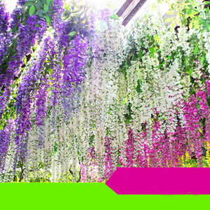 Wholesale white house flowers resale online - White Green Purple fuchsia Artificial Flowers Simulation Wisteria Vine Wedding Decorations Long Short Silk Plant Bouquet Room Office Garden